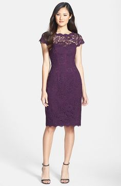 Purple lace Monique Lhuillier Dress for the Mother of the Bride or Groom #MOB #MotheroftheBride