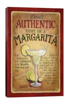 Authentic Margarita by Lisa Audit Canvas Wall Art by Vintage Kitchen Pop Art Gallery Canvas on @HauteLook