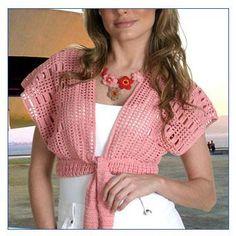 CROCHE COM RECEITAS: Bolero rosa em crochê