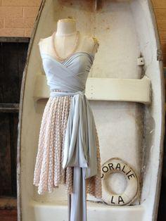 Peach Polkadot Lace Octopus Convertible Wrap Dress- Bridesmaids, Wedding