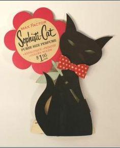 vintage Max Factor purse perfume cat art, max factor, advertis, cat ad, sophisticat, art cat, cat person, purs perfum, black cat