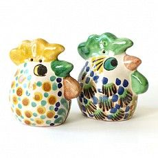 Big Head Rooster Salt & Pepper Shakers : Emilia Ceramics #MexicanPottery #GorkyGonzalez