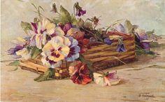 pansies in oblong wicker basket