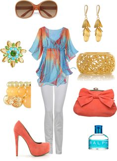 blue and coral, created by missyalexandra on Polyvore