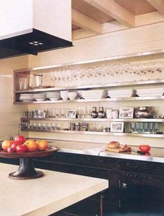 Great mix of materials. Love the open shelves.