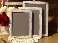 Set of 3 Rustic Chalkboard Signs, Photo Props, Menu, Dessert Bar, Candy Bar, Save the Date, Bar,etc. $24.99, via Etsy.