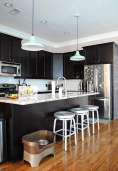 Espresso Cabinets, Bianco Antico Countertops + White Subway Tile – Mark's Comfortable Contemporary #kitchen