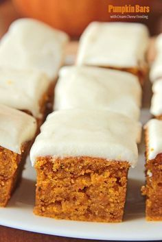 Pumpkin Bars with Cream Cheese Frosting | Sugar Apron | pumpkin desserts, recipes