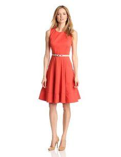 Anne Klein Womens Belted Linen Dress, Sunset, 2: Clothing