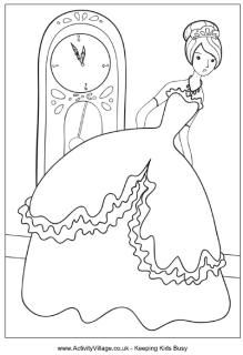 Cinderella colouring page
