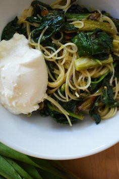 Sunday Pasta: Ramps, Roasted Asparagus, Spinach, Burrata