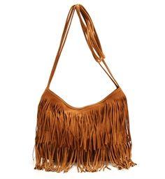 Camel Fringe Crossbody Bag