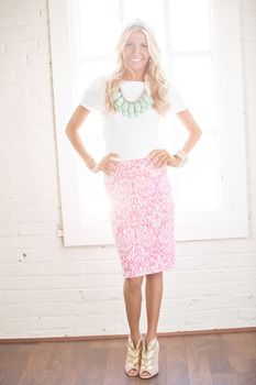 Victorian Damask Pencil Skirt Pink - Modern Vintage Boutique