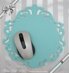 NEW COLOR!  Baroque Mouse Pad Tiffany Blue by BeautifyIT on Etsy, $24.95