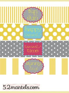 Free water bottle labels for a Summer Party!