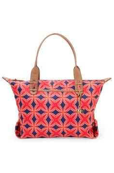 Stella & Dot How Does She Do It Bag | Navy & Red Medallion Carryall Bag