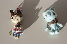Poseable fiber art sculptures, with vintage button detailing, by Lisa Inez