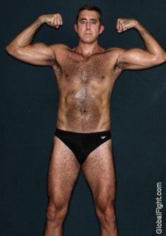 sweaty muscular beefy dude