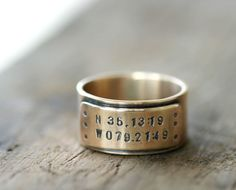 Longitude Wedding Ring for Men. Never forget the place we got married. #accessory #jewelry #ring
