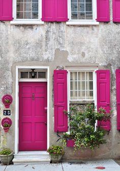magenta door and shutters.