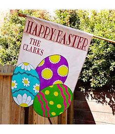 "Extra Large Happy Easter Flag - Festive Easter eggs in brilliant spring colors grace the front and back of this cute ""Happy Easter"" flag. #easter #giftideas #personalized"