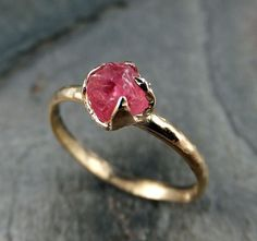 Raw Hot Pink Gemstone Ring Rough uncut Spinel Solid by byAngeline