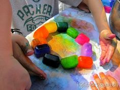 painting with ice cubes.