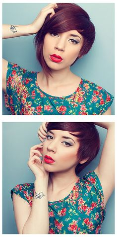 makeup, hair color & style, top, tattoo = <3