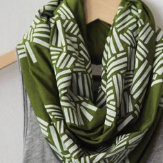 White Crosshatch on Olive Green Infinity Scarf