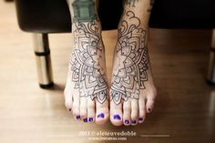 amazing foot tattoo  love how it incorporates both feet together  and her purple toe nail polish is adorable :)