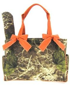 Orange Camo Camouflage Tote Purse Diaper Bag with Soft Velvety Feel.