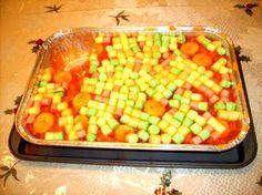 Orange JELL-O, mandarin oranges, crushed pineapple, bananas, mini marshmallows!!