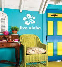 Hawaiian Hibiscus Live aloha Saying - Vinyl wall art decals sticker by 3rdaveshore. $36.00, via Etsy.