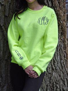 Monogrammed Sweatshirt, you can get Greek letters on the sleeve for all my Sorority friends. @Cassandra Dowman Dowman Guild Smith @Gabriella Denizot Denizot Denizot Martinez