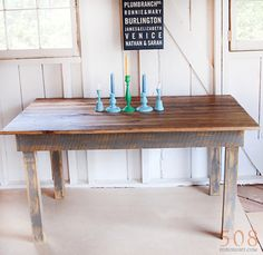 No. 40 barn wood dining table w/ vintage distressed gray