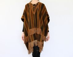 60s Hippie Poncho Boho Stripe Wool Blanket Leather Fringed Southwestern Pioneer Wear western earth tone chestnut brown cowboy cape coat