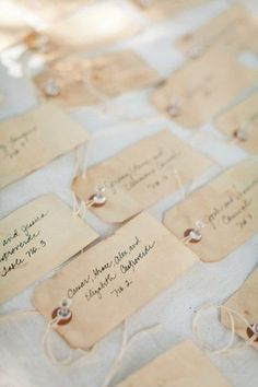 Unique Wedding Escort Place Card Ideas. These very vintage looking  Wedding Escort Cards by French Market have gorgeously hand-dyed with love and can double up as gift tags!  escort #placecard #namecard #wedding ♥ ♥ ♥ Follow us on Facebook http://www.facebook.com/confettidaydreams ♥ ♥ ♥