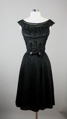 Justin McCardy Vintage 50s Elegant Cotton Voile Cocktail Party Dress