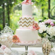 Metallic Gold Chevron Wedding Cake