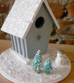 Perfect for winter home decor! Transform your everyday bird house in to an icy blue winter house. #JoannHandmade