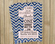 Blue Chevron One First Birthday Invitation, Custom Digital File, Printable