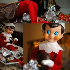 Elf on the Shelf is opening all the wrapped candy....I really think he is acting naughty!!   Photo Sharing!