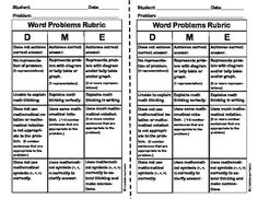 Here's a rubric for evaluating student work in solving word problems.