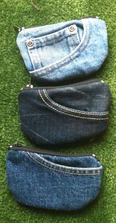 Pocket purses. Could not find instructions but not to hard to make. reuse recycle, denim jeans, pocket purs, coins, designer handbags, jeans diy bag, coin purses, recycled denim, old jeans