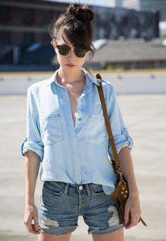 jean shorts, fashion, summer looks, blue, denim shirts, double denim, summer outfits, casual looks, denim shorts