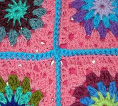 How to crochet granny squares together.