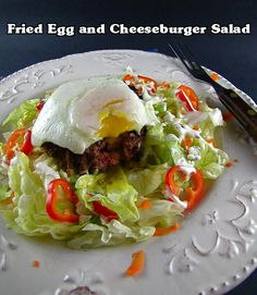 fried egg cheeseburger, cheeseburgers, eggs, cheeseburger salad, cheeseburg salad, salad cake, salads, fri egg