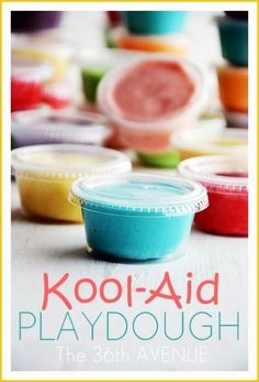 DIY Kool-Aid Playdough Recipe     Prep time  10 mins  Total time  10 mins     Author: Desiree Campbell  Recipe type: Playdough  Serves: 6  Ingredients  1 Cup Flour  ¼ Cup Salt  1 Packet Kool-Aid  ⅔ Cup Water *You will end up using between ½ and ⅔ cup.  1 Tb. Oil  Instructions  Mix the flour, the salt, and the Kool-Aid together.  Boil the wate