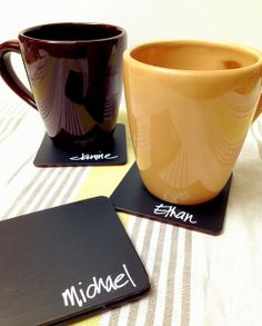 Easy to make personalized chalk paint coasters.  It reduces the amount of dirty glasses!