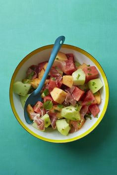 Triple Melon Salad  #myplate #fruits #summer